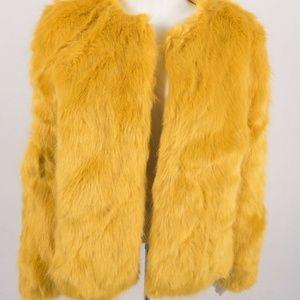 Bershka Women's Faux Fur Coat jacket Small Yellow